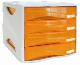 Cassettiera Smile, cassetti arancione traslucido