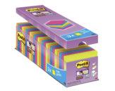 Post-it® Super Sticky Neon Value Pack, Foglietti Riposizionabili, 24 Blocchi, Varie Dimensioni, 76mm x 76mm