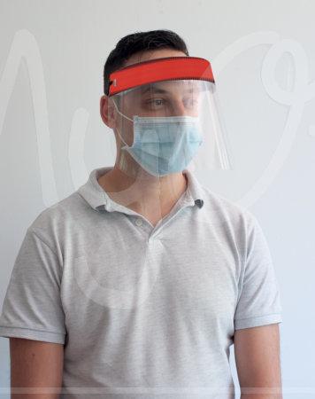 Visiera protettiva con fascia elastica
