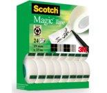 Scotch Magic 810, Nastro Adesivo Invisibile, Trasparente, cm. 25,5x35, mm 19 x m 33 - valuepack 24 pz (20+4 omaggio)