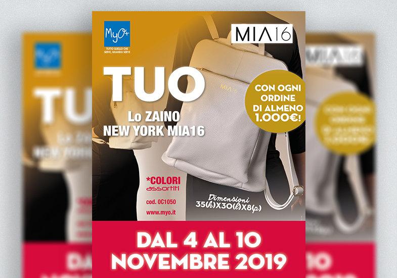 Promozione MyO Zaino New York MIA16 novembre 2019